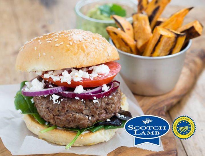 Homemade Scotch Lamb burgers, with Feta …