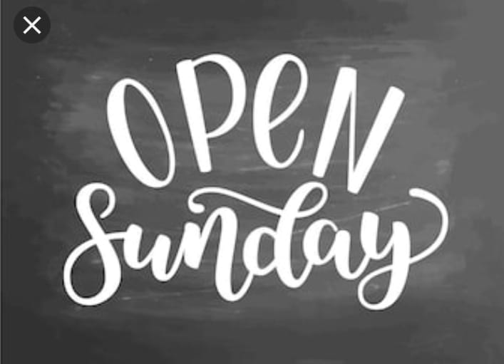 Don't forget we now open on Sundays..  W…